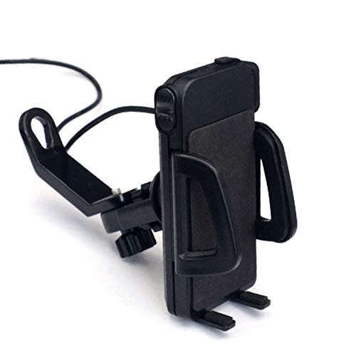 SHKY Motorcycle Phone Mount with USB Charger Port,Bike Motorcycle Cell Phone Holder,for Most Mobile Smartphones (4' to 6') on Handlebar/Mirror