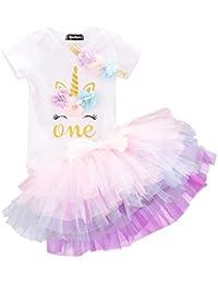 a999efb483 Girl Newborn 1st Birthday 3 Pcs Outfits Romper+Tutu Dress+Headband