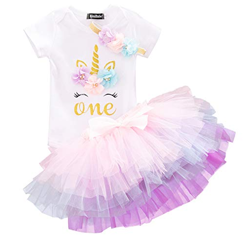 TTYAOVO Baby Girl Newborn 3Pcs My 1st Birthday Outfits Skirt Set Romper+Tutu Dress+Headband Clothing Set (1 Years, 1peach) -