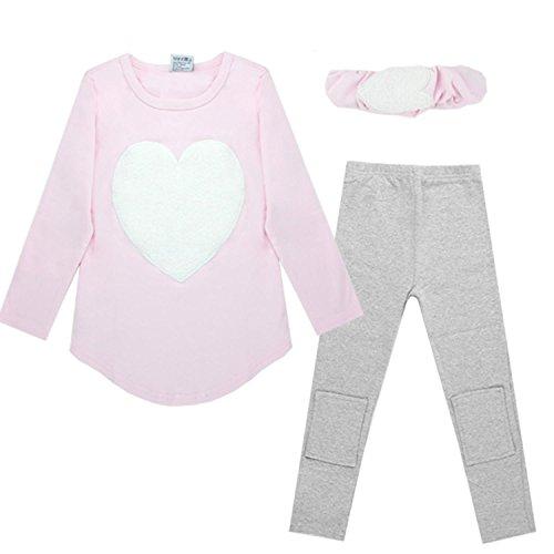 CRAVOG Kleidung Baby Mädchen Kinder Herz Shirt Top + Hose Leggings + Stirnband Outfit-Rosa