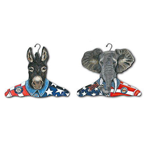 Donkey Coat - The Stupell Home Decor Collection Republican Elephant and Democratic Donkey Clothing Hanger (2 Pack)