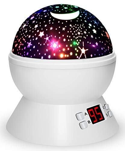 Night Lights for Kids, Multiple Colors Rotating Star Projector with Timing Shutdown Function, Night Light for Baby Boys and Girls (Best Projector For Bright Room)