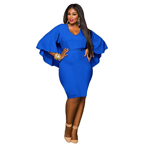 Tiean Dress, Plus Size Batwing Bodycon Party Dress for Girls Womens (XL, Blue)
