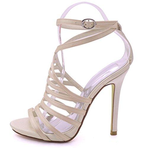 Femmes à Grande Demoiselle Sandales YC Bout à Multicolore 8 Court Summer pour L Taille Party Ouvert 3 Talons Shoes Champagne d'honneur Hauts HXqzwxg