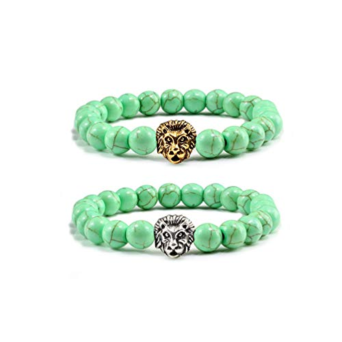 2Pcs 8mm Natural Couple Weathering Turquoise Lion Energy Bracelet Yoga Female Meditation Beads Series Chain with 1packing Box Bag (Apple Green Lion) -