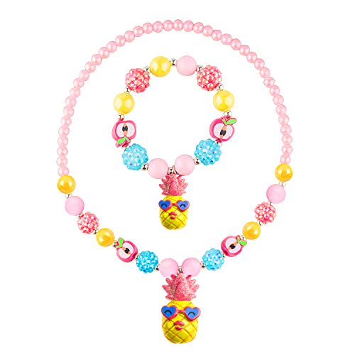 Bubblegum Chunky Bead Necklace and Bracelet Set for Little Girls, Cute Mr. Pineapple is Kid's Fashion Gift ()