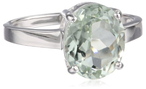 Sterling Silver Oval Green Amethyst Ring, Size (Green Quartz Ring)