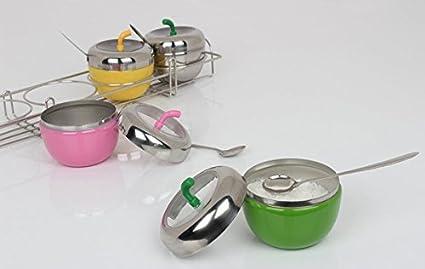 Distinct Kitchen Seasoning Apple-Shaped Salt Pepper Sugar Cruet Pot Stainless Steel Condiment Box Silver