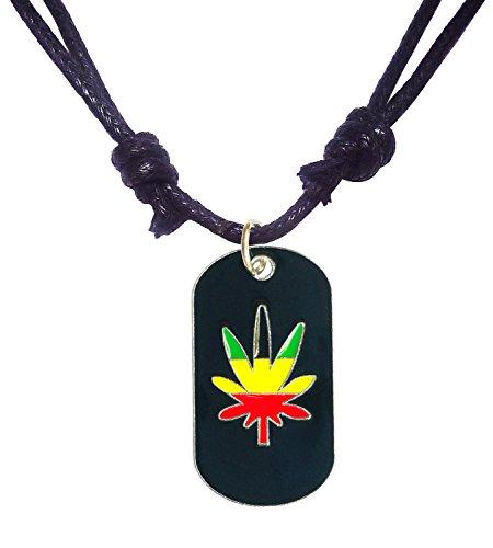 BDJ Silver Tone Hand Painted Enamel Pot Leaf Dog Tag Pendant Adjustable Cord Necklace 16