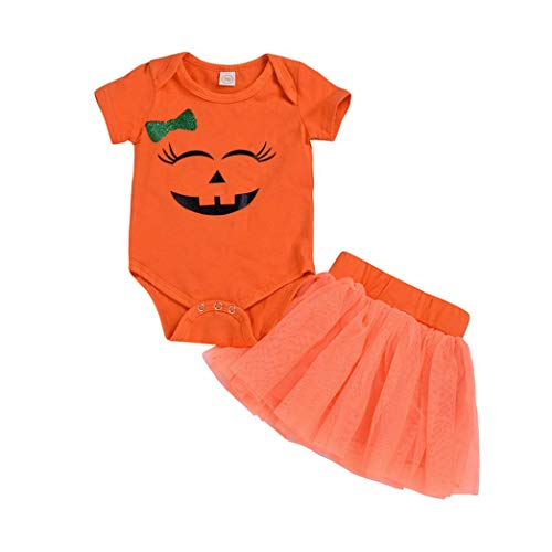 Newborn Toddler Infant Baby Girl Clothes, Short Sleeve Bodysuit Romper + Tutu Skirt, Pumpkin Winter First Halloween Costumes Outfit Gifts (0-6 Months, Orange) -