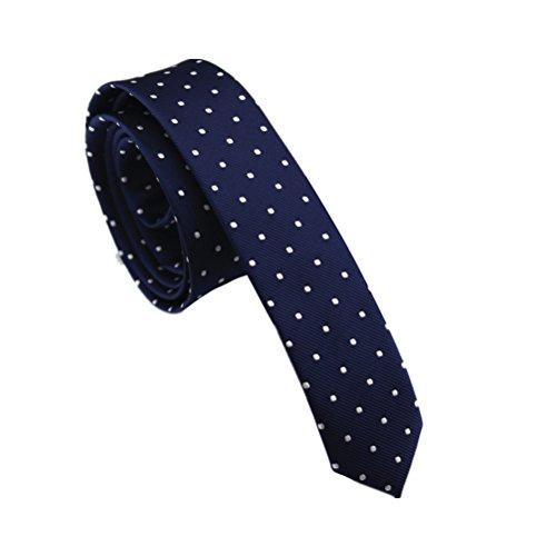 Elviros Men's Eco-friendly Fashion Polka Dot Skinny Tie 1.6'' (4cm) Navy (Slim Skinny Tie)