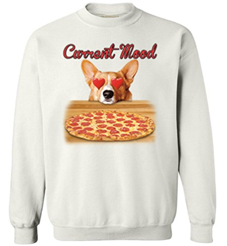 Awkward Styles Unisex Current Mood Sweatshirts Crewneck Funny Dog Pizza Lover White S