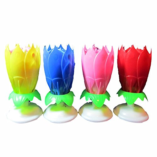 Makhry The Amazing Happy Birthday Candle Singing Opening Flower Spin RedPinkYellowBlue