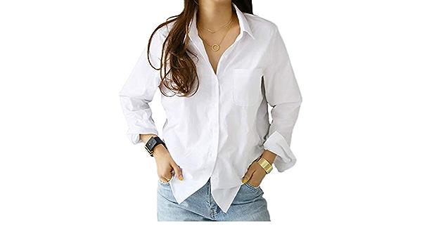 ORANDESIGNE Mujer Blusa con Bolsillos en el Pecho Manga Larga ...