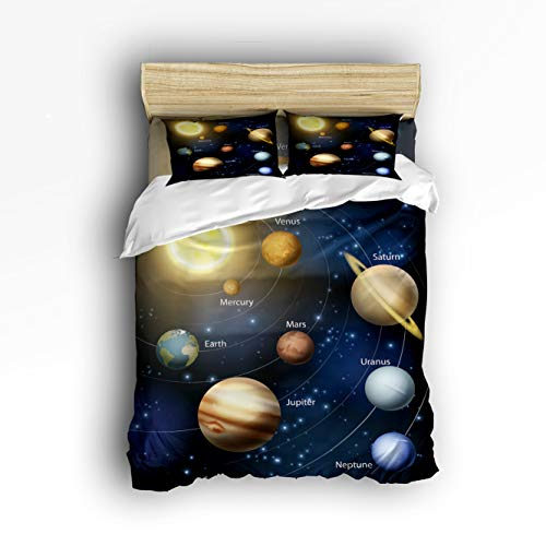 Cloud Dream Home 4 Piece Bedding Set,Solar System Orbit The Sun with Names of Planets Duvet Cover Set Quilt Bedspread for Childrens/Kids/Teens/Adults Full Size ()