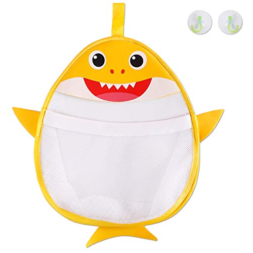 - Genovega Bath Toys Organizer Storage Holder - Baby Shark Quick Dry Mesh Bag for Bathtub for Toddlers 1 2 3 4 5 Year Old Baby Kids Boy Girl Enjoy Fun Bath Time