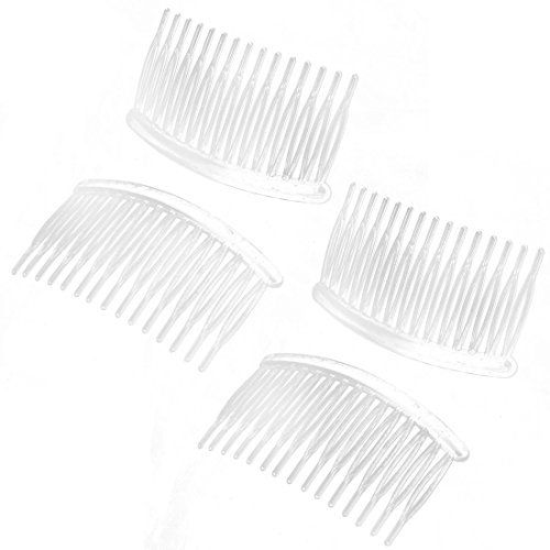DealMux Women Lady Plastic 15 Teeth Hair Comb Clip DIY Jewelry Material Accessories 4 Pcs Clear