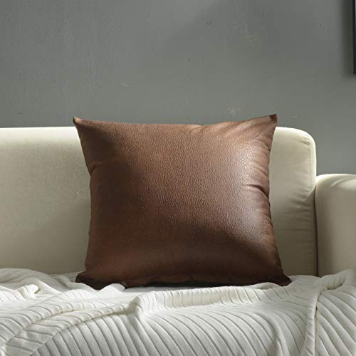 Treely Pack of 2 Decorative Faux Leather Pillow Cover Square Throw Pillow Covers Set Brown Cushion Case for Couch Sofa Bedroom Car 18 x 18 Inch 45 x 45 cm