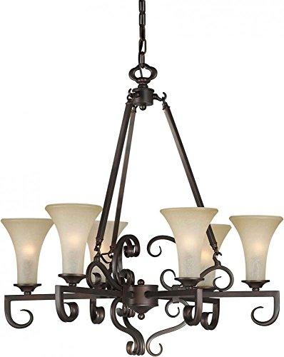 Six Light Antique Bronze Umber Mist Glass Up Chandelier Model - 2326-06-32