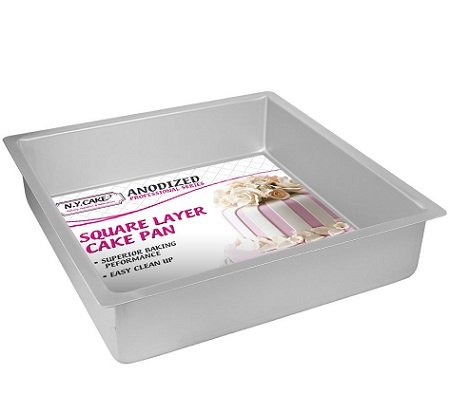 NY Cake Anodized Aluminum Square Cake Pans (10 Inch x 10 Inch x 3 Inch)