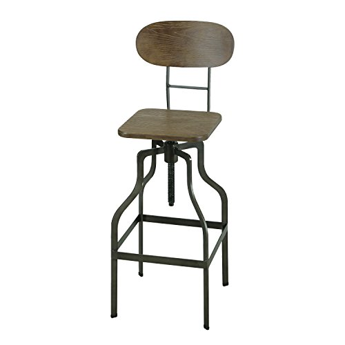 Joveco Industrial Style Adjustable Logan Metal Stool Bamboo Seat With Back Bamboo Swivel Bar Stool