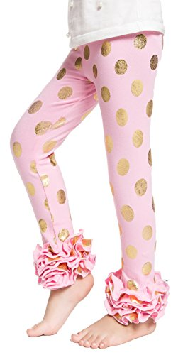 - Girls Ruffle Leggings Pants Messy Code Toddler Girls Pants Gold Polka Dot Baby Leggings,L(2-3Y),Pink