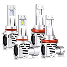 9005 H11 Combo LED Headlight Bulbs, LINKSTYLE 12000lm/Per set 1:1 Design 9005/HB3 High Beam H11/H8/H9 Low Beam Conversion Kit with ZES chip 6500K Cool White 26W Per Bulb