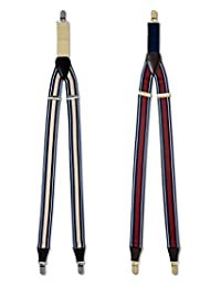 Club Room 32mm Striped Suspenders 32mm Tan with Blue & White Stripes