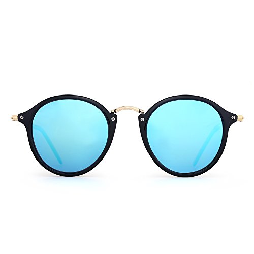 JIM HALO Retro Polarized Round Sunglasses for Women Vintage Small Mirror Glasses (Shiny Black/Polarized Mirror Blue)