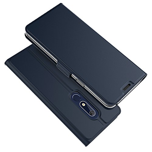 TOTOOSE Nokia 5.1 Case,[ Shock Absorbent ] Leather Case PU Leather Kickstand Wallet Cover Durable Flip Case for Nokia 5.1 Blue