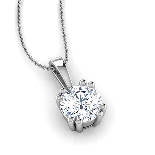 18K Or Blanc 0,3CT TW Round-cut-diamond (IJ | SI) Pendentif