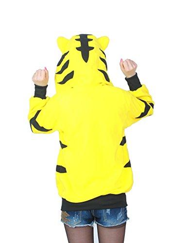 Outwear Tigre Animato Cartone con con Casuale cappuccio Unisex Giallo CuteOn Felpe Maglione Giacca Tracksuit Animale Felpa cappuccio Pullover BgCZ5wnq
