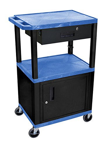 Multimedia Mobile Workstation - Luxor Open Shelf Cart with Locking Drawer and Cabinet