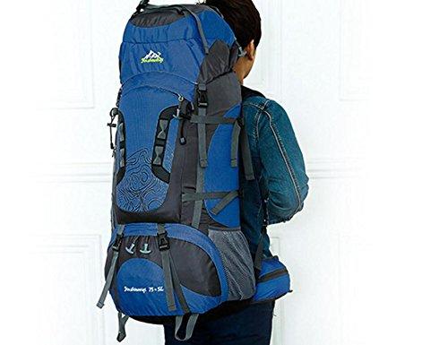 Mochila bandolera hombre doble montañismo al aire libre profesional gran capacidad bolsa , orange navy blue