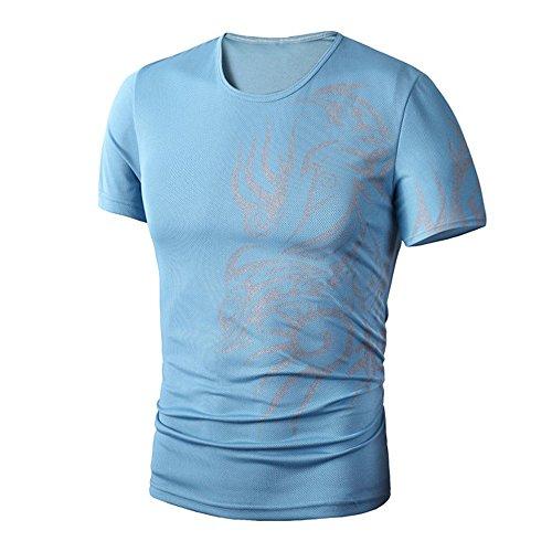 PASATO Men Summer Round Neck Tee Printing Men's Short-Sleeved T-Shirt Top Blouse(Blue,L=US:M) by PASATO Blouse For Men (Image #2)