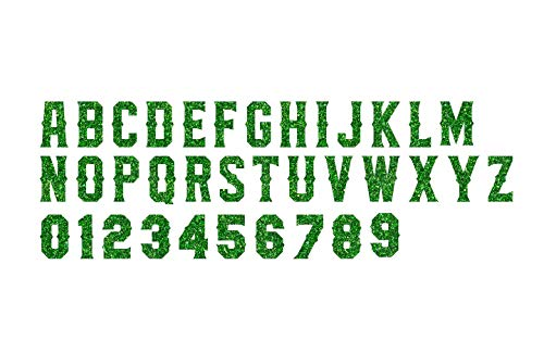 2-Inch Tall TER Hologram, Glow in Dark, Reflective, Metallic, Glitter, Matte PU Vinyl Iron-on Transfer Letters Numbers for Custom Jersey and Clothing,26 Letters and 10 Digits (Green Glitter)
