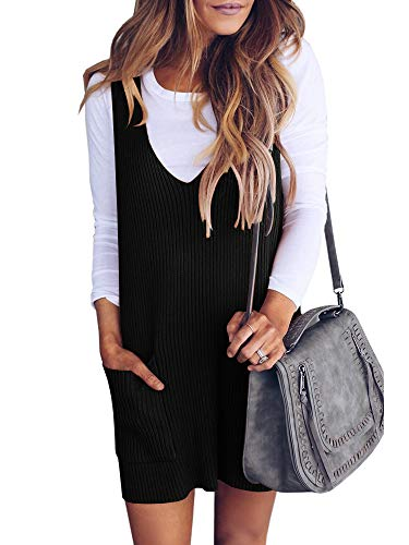 Saodimallsu Womens Racerback Tank Sweater Dresses Fall Ribbed Knit Loose V Neck Dress Pockets Black