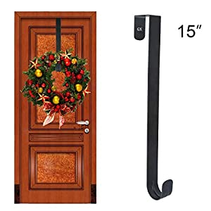 "GameXcel Wreath Hanger Over The Door - Larger Wreath Metal Hook for Christmas Wreath Front Door Hanger 15"" Black 17"