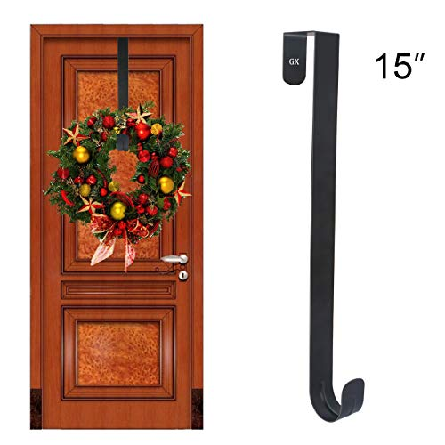 "GameXcel Wreath Hanger Over The Door - Larger Wreath Metal Hook for Christmas Wreath Front Door Hanger 15"" Black from GameXcel"