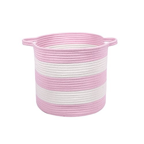 """M2 Home Accessories Cotton Rope Storage Basket with Handles - Woven Baskets for Kids' Toys - Laundry Baskets Nursery Hamper - 13"""" x 15"""" (White & Baby Pink)"""