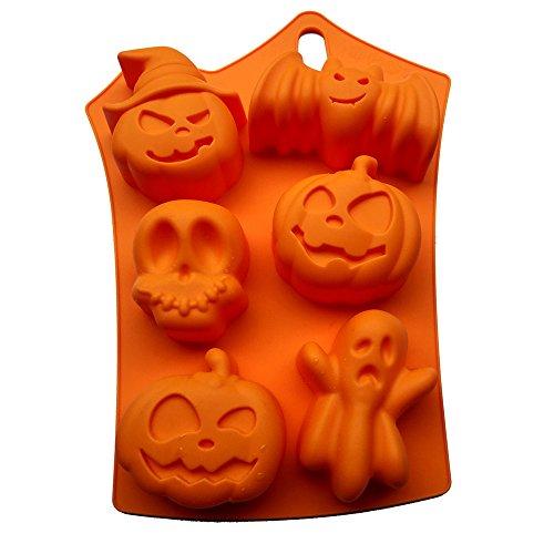 LMS Food Grade Halloween Pumpkins Bat Skulls Ghost Silicone Candy Baking Mold, 9x7 inch]()