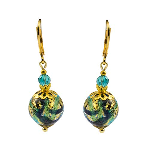 Just Give Me Jewels Genuine Venice Murano Glass Bead Dangle Earrings - Green Blue with Gold Foil (Just Give Me Jewels)