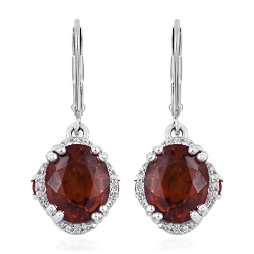 Hessonite Garnet Earrings - AAA Premium Hessonite Garnet Fire Opal Dangle Drop Earrings 925 Sterling Silver Platinum Plated Gift Jewelry for Women Ct 7.7