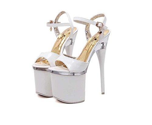 MYI Frauen Nachtclub Super High Heels Sandaletten Pole Dance Boots Schwarz/Rot/Weiß Haben 41 42 43 Größe Weiß