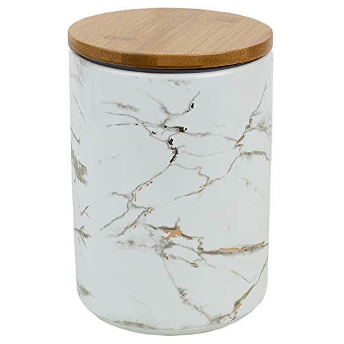 Home Basics Marble Ceramic Kitchen Food Storage Canister with Bamboo Lid (White, Large) with Airtight Seal for Sugar, Coffee, Salt, Herbs, Spices-Use as Crock, Stationary Holder or Flower