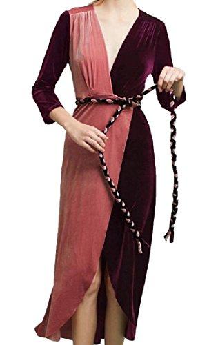 Confortable Femmes V Cou Or Velours Robe Couture Ceinturée Irrégulière Vin Rouge
