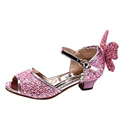 Girls Sequins Rhinestone Butterfly High Heel Shoes
