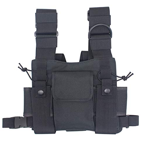 Karier Radio Chest Harness Bag Chest Front Pocket Pack Holster for Two Way Radio Walkie Talkie ()