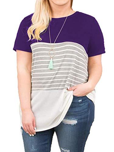 (Women's Plus Size Casual Loose Tshirt Striped Short Sleeve Tunic Tops Purple 20W)