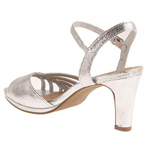 amp; Forme argentées Mariage à Brillantes Chaussures Talon Ouvert Femme Petit Argent Sandales Bout épais qpvEaatdw